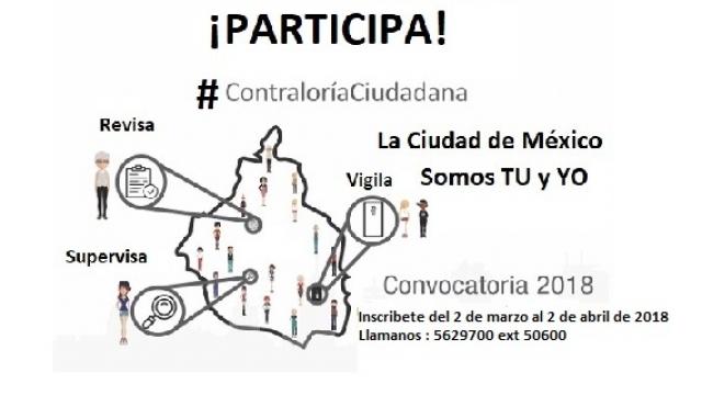 Convocatoria 2018 para participar como Contralora o Contralor Ciudadano